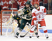 Arthur Griem (Vermont - 5), Joe Pereira (BU - 6) - The visiting University of Vermont Catamounts tied the Boston University Terriers 3-3 in the opening game of their weekend series at Agganis Arena in Boston, Massachusetts, on Friday, February 25, 2011.