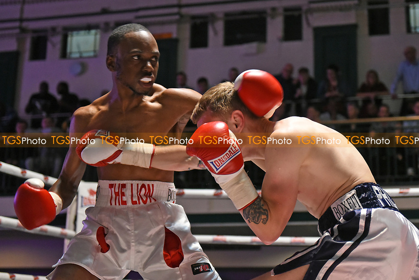 Ryan Walker (white/red shorts) defeats Jules Phillips during a Boxing Show at York Hall on 22nd April 2017