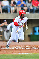 Greenville Reds Ivan Johnson (4) runs to first base during a game against the Elizabethton Twins at Pioneer Park on June 29, 2019 in Greeneville, Tennessee. The Twins defeated the Reds 8-1. (Tony Farlow/Four Seam Images)