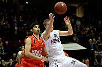 GRONINGEN - Basketbal, Donar - New Heroes, Martiniplaza,  Dutch Basketball League, seizoen 2017-2018, 03-12-2017,  Den Bosch speler Stefan Wessels in duel met Donar speler Evan Bruinsma