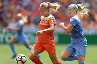 Houston, TX - Saturday April 15, 2017: Rachel Daly and Julie Ertz chase after a loose ball during a regular season National Women's Soccer League (NWSL) match won by the Houston Dash 2-0 over the Chicago Red Stars at BBVA Compass Stadium.