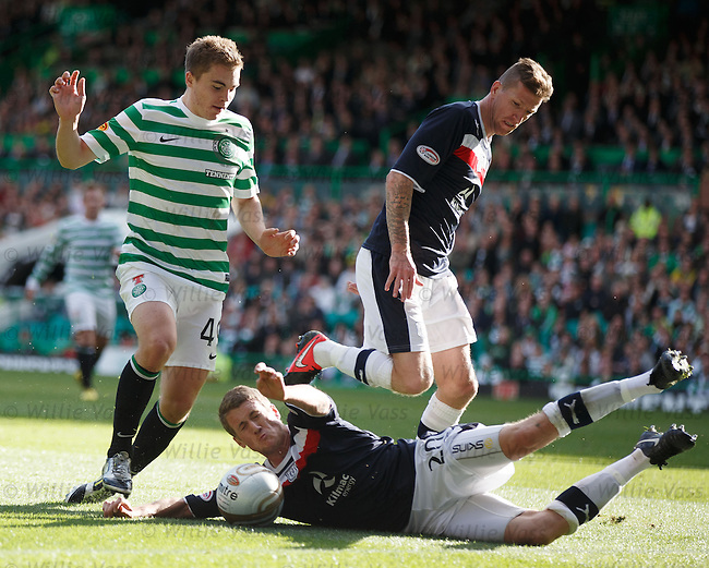 James Forrest foiled by Dundee duo Jim McAlister and Iain Davidson