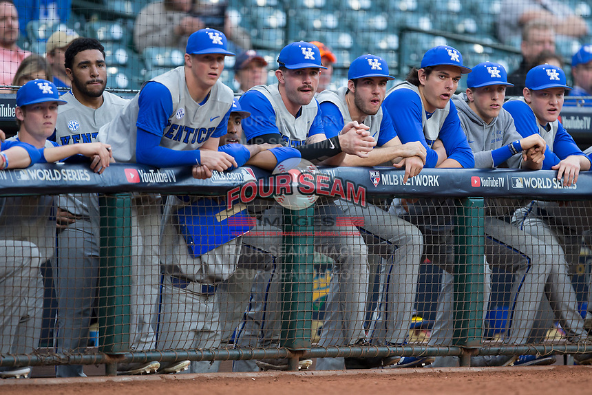 The Kentucky Wildcats bench watches the action during the game against the Houston Cougars in game two of the 2018 Shriners Hospitals for Children College Classic at Minute Maid Park on March 2, 2018 in Houston, Texas.  The Wildcats defeated the Cougars 14-2 in 7 innings.   (Brian Westerholt/Four Seam Images)