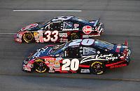 May 2, 2008; Richmond, VA, USA; NASCAR Nationwide Series driver Denny Hamlin (20) races alongside Kevin Harvick (33) during the Lipton Tea 250 at the Richmond International Raceway. Mandatory Credit: Mark J. Rebilas-US PRESSWIRE