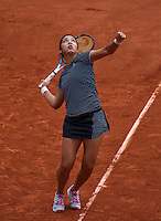 Paris, France, 25 June, 2016, Tennis, Roland Garros,  Zarina Diyas (KAZ) serves<br /> Photo: Henk Koster/tennisimages.com