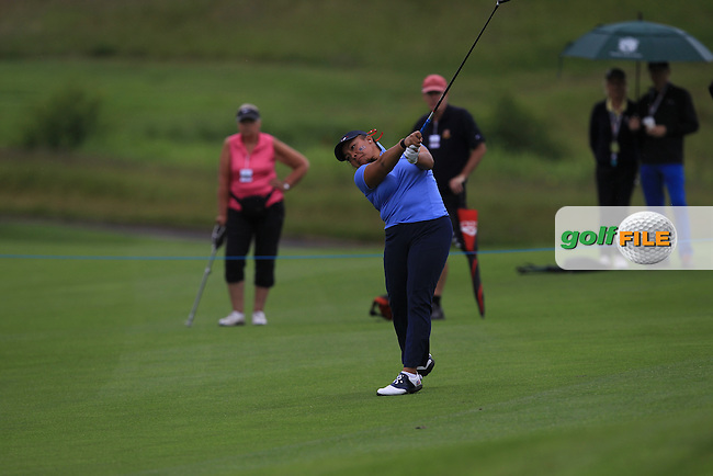 Mariel Galdiano on the 12th during the Friday morning Foursomes of the 2016 Curtis Cup at Dun Laoghaire Golf Club on Friday 10th June 2016.<br /> Picture:  Golffile | Thos Caffrey