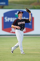 Kannapolis Intimidators left fielder Carl Thomore (13) catches a fly ball during the game against the Delmarva Shorebirds at CMC-NorthEast Stadium on July 2, 2014 in Kannapolis, North Carolina.  The Intimidators defeated the Shorebirds 6-4. (Brian Westerholt/Four Seam Images)