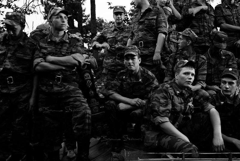 """Tshinvali, South Ossetia, August 21, 2008.Russian soldiers during the South Ossetia """"Victory Party"""" (pobieda) in Tshinvali. Valery Gergiev, the world famous music conductor gives an outdoor concert to celebrate the end of the war."""