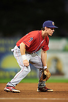 Williamsport Crosscutters third baseman Evan Rogers (38) during a game against the Batavia Muckdogs on September 2, 2016 at Dwyer Stadium in Batavia, New York.  Williamsport defeated Batavia 9-1. (Mike Janes/Four Seam Images)