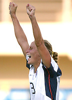 23 August 2004:  Kristine Lilly celebrates after scoring a goal during first half of the game against Germany during the semifinal game at Pankritio Stadium in Heraklio, Greece.     USA defeated Germany, 2-1 in overtime,  .   Credit: Michael Pimentel / ISI
