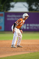 Ryan Colombo (2) of the Asheboro Copperheads takes his lead off of second base against the High Point-Thomasville HiToms at Finch Field on June 12, 2015 in Thomasville, North Carolina.  The HiToms defeated the Copperheads 12-3. (Brian Westerholt/Four Seam Images)