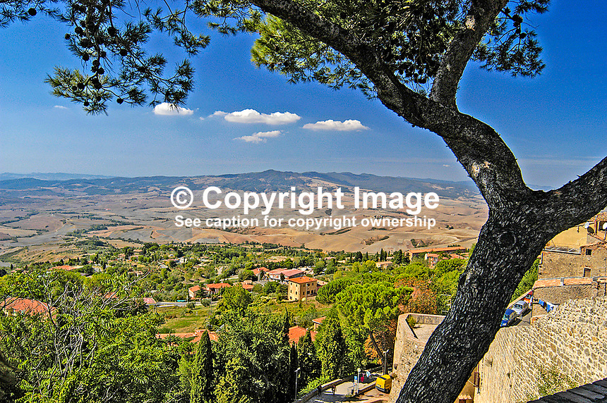 View over the Tuscan countryside from Volterra, Siena, Italy. 200409190034.<br />