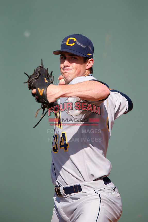 Ryan Wertenberger #34 of the California Golden Bears warms up before pitching against the UCLA Bruins at Jackie Robinson Stadium on March 23, 2013 in Los Angeles, California. (Larry Goren/Four Seam Images)
