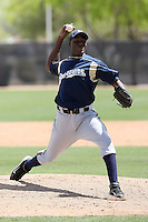 Roque Mercedes of the Milwaukee Brewers plays in a spring training game against the Los Angeles Dodgers at the Brewers complex on April 2, 2011 in Phoenix, Arizona. .Photo by:  Bill Mitchell/Four Seam Images.