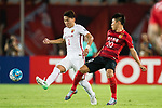 Shanghai FC Defender Zhang Wei (L) fights for the ball with Guangzhou Forward Yu Hanchao (R) during the AFC Champions League 2017 Quarter-Finals match between Guangzhou Evergrande (CHN) vs Shanghai SIPG (CHN) at the Tianhe Stadium on 12 September 2017 in Guangzhou, China. Photo by Marcio Rodrigo Machado / Power Sport Images
