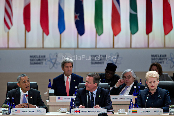 United States President Barack Obama, left, speaks during a closing session with David Cameron, U.K. prime minister, center, and Dalia Grybauskaite, Lithuania's president, at the Nuclear Security Summit in Washington, D.C., U.S., on Friday, April 1, 2016. After a spate of terrorist attacks from Europe to Africa, Obama is rallying international support during the summit for an effort to keep Islamic State and similar groups from obtaining nuclear material and other weapons of mass destruction. Seated behind them are US Secretary of State John Kerry and US Secretary of Energy Ernest Moniz.<br /> Credit: Andrew Harrer / Pool via CNP/MediaPunch