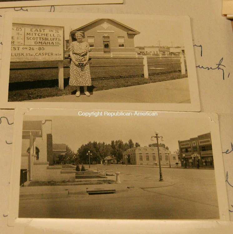 """TORRINGTON, CT - 2 September, 2010 - 090210MO01 - Torrington, Conn. librarians Catherine Calhoun and Dorothea Cramer traveled to Torrington, Wyo. by car in 1934 to visit their home town's namesake. The photos they returned with were displayed in the Torrington Library, where they attracted """"much attention"""" according to a contemporary newspaper account. Jim Moore photo."""