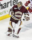 Cory Schneider 1 of Boston College plays the puck behind his net. The Boston College Eagles defeated the University of Wisconsin Badgers 3-0 on Friday, October 27, 2006, at the Kohl Center in Madison, Wisconsin in their first meeting since the 2006 Frozen Four Final which Wisconsin won 2-1 to take the national championship.<br />
