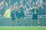 Stockholm 2014-04-16 Fotboll Allsvenskan Djurg&aring;rdens IF - AIK :  <br /> AIK:s Nabil Bahoui  har gjort 2-0 och jublar med AIK:s Panajotis Dimitriadis , AIK:s Martin Lorentzson , AIK:s Eero Markkanen oxh AIK:s Alexander Milosevic <br /> (Foto: Kenta J&ouml;nsson) Nyckelord:  Djurg&aring;rden DIF Tele2 Arena AIK jubel gl&auml;dje lycka glad happy