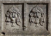 Carved faces with wreaths and water-spouts in their mouths, 16th - 17th century, on the font in the Convento da Ordem do Carmo or Carmo Convent, a Carmelite convent founded 1389 and destroyed in the 1755 earthquake, Chiado, Lisbon, Portugal. The adjoining Carmo Church houses an archaeological museum. Picture by Manuel Cohen