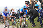Riders including Johan Van Summeren (BEL) Garmin Sharp and British National Champion Ian Stannard Sky Procycling at the top of the cobbled climb of Paterberg during the 56th edition of the E3 Harelbeke, Belgium, 22nd  March 2013 (Photo by Eoin Clarke 2013)