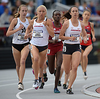 NWA Democrat-Gazette/ANDY SHUPE<br /> Arkansas' Lauren Gregory (left) and Carina Viljoen (right) lead the pack Saturday, May 11, 2019, in the 1,500 meters during the SEC Outdoor Track and Field Championships at John McDonnell Field in Fayetteville. Visit nwadg.com/photos to see more photographs from the meet.