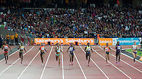 The women's 400m head down the home straight with Natasha Hastings (4th left) of USA winning in 50.24 during the Sainsburys Anniversary Games at the Olympic Park, London, England on 24 July 2015. Photo by Andy Rowland.