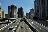 Sao Paulo, Brazil. Slip roads to an elevated main ring road.