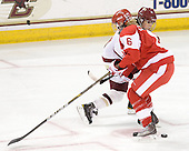 Caitlin Walsh (BC - 11), Carly Warren (BU - 6) - The Boston College Eagles defeated the Boston University Terriers 2-1 in the opening round of the Beanpot on Tuesday, February 8, 2011, at Conte Forum in Chestnut Hill, Massachusetts.