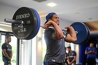 Ben Tapuai of Bath Rugby in the gym. Bath Rugby pre-season training on July 28, 2017 at Farleigh House in Bath, England. Photo by: Patrick Khachfe / Onside Images