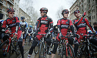 3 Belgians and a Suiss of the BMC squad on the start line: Klaas Lodewyck (BEL/BMC), Greg Van Avermaet (BEL/BMC), Danilo Wyss (CHE/BMC) & Philippe Gilbert (BEL/BMC)<br /> <br /> <br /> 2014 Milano - San Remo