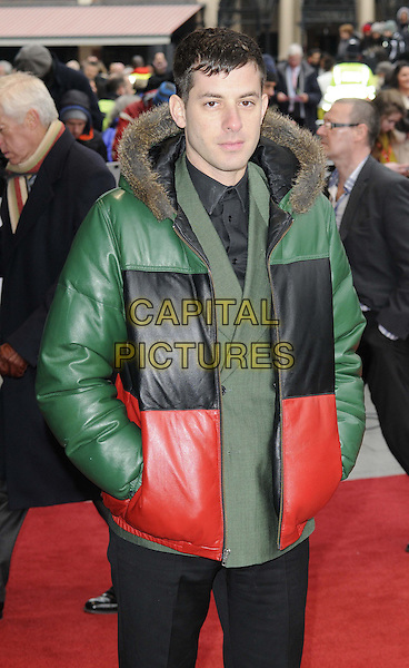 Mark Ronson.The Prince's Trust and Samsung Celebrate Success Awards at the Odeon Leicester Square, London, England..26th March 2013.half length green black red puffa jacket hands in pockets suit fur trim hood.CAP/CAN.©Can Nguyen/Capital Pictures.