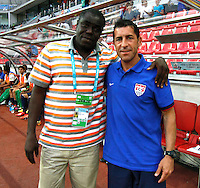 Ghana's Coach Sellas Tetteh (L) and USA's Coach Tab Ramos (R) during their FIFA U-20 World Cup Turkey 2013 Group Stage Group A soccer match Ghana betwen USA at the Kadir Has stadium in Kayseri on June 27, 2013. Photo by Aykut AKICI/isiphotos.com