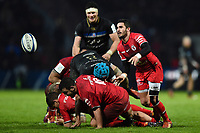 Sebastien Bezy of Toulouse passes the ball. Heineken Champions Cup match, between Stade Toulousain and Bath Rugby on January 20, 2019 at the Stade Ernest Wallon in Toulouse, France. Photo by: Patrick Khachfe / Onside Images