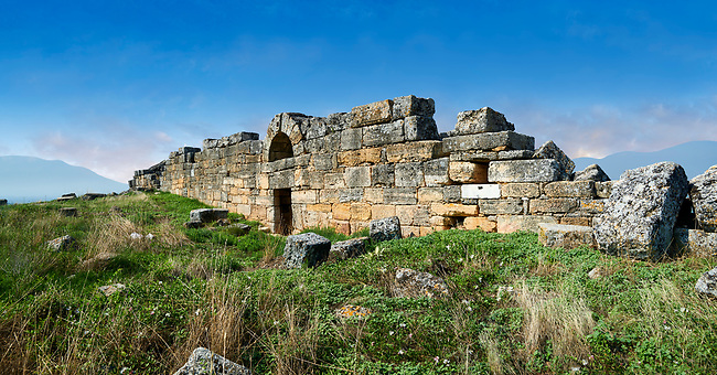 Picture of the ruins Hieropolis walls. Hierapolis archaeological site near Pamukkale in Turkey.