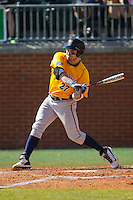Connor Panas (27) of the Canisius Golden Griffins at bat against the Charlotte 49ers at Hayes Stadium on February 23, 2014 in Charlotte, North Carolina.  The Golden Griffins defeated the 49ers 10-1.  (Brian Westerholt/Four Seam Images)