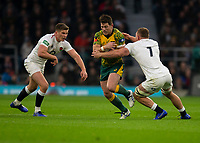 Australia's Bernard Foley is tackled by England's Sam Underhill<br /> <br /> Photographer Bob Bradford/CameraSport<br /> <br /> 2018 Quilter Internationals - England v Australia - Saturday 24th November 2018 - Twickenham - London<br /> <br /> World Copyright &copy; 2018 CameraSport. All rights reserved. 43 Linden Ave. Countesthorpe. Leicester. England. LE8 5PG - Tel: +44 (0) 116 277 4147 - admin@camerasport.com - www.camerasport.com