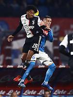 26th January 2020; Stadio San Paolo, Naples, Campania, Italy; Serie A Football, Napoli versus Juventus; Juan Cuadrano of Juventus challenges Jose Maria Callejon of Napoli