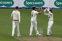 Kent bowler, Grant Stewart celebrates taking the wicket of Surrey's Rory Burns during Surrey CCC vs Kent CCC, Specsavers County Championship Division 1 Cricket at the Kia Oval on 7th July 2019