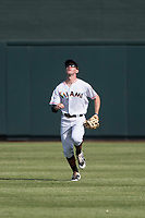 Salt River Rafters center fielder Brian Miller (10), of the Miami Marlins organization, prepares to catch a fly ball during an Arizona Fall League game against the Glendale Desert Dogs at Salt River Fields at Talking Stick on October 31, 2018 in Scottsdale, Arizona. Glendale defeated Salt River 12-6 in extra innings. (Zachary Lucy/Four Seam Images)