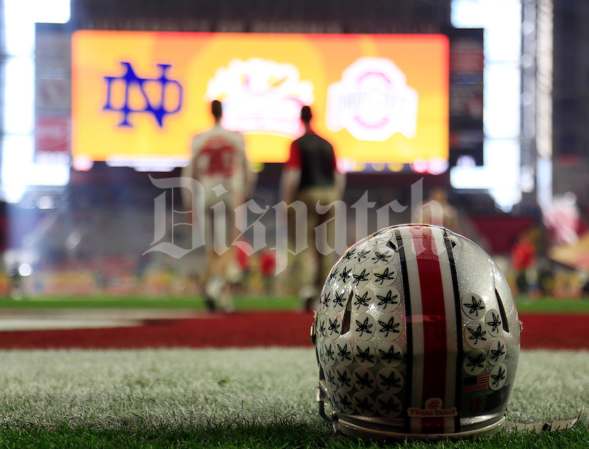 Ohio State Buckeyes warmup before their game against Notre Dame Fighting Irish in the Fiesta Bowl on January 1, 2016.  (Dispatch photo by Kyle Robertson)