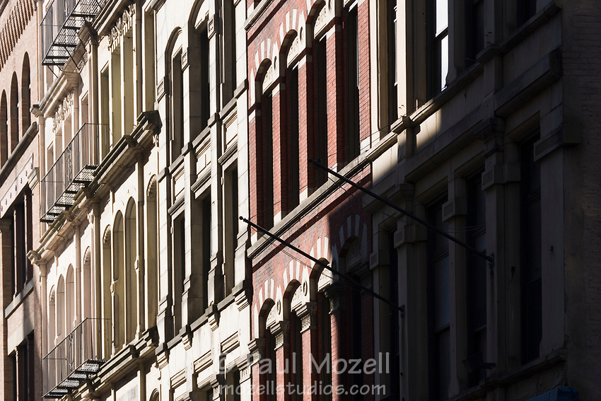 "Facades of early 20th century buildings in the ""Leather District"" of Boston, Massachusetts"