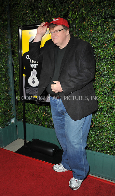 WWW.ACEPIXS.COM . . . . . ....September 15 2009, LA....Michael Moore arriving at the LA screening of  'Capitalism: A Love Story' on September 15, 2009 in Beverly Hills, California.....Please byline: JOE WEST- ACEPIXS.COM.. . . . . . ..Ace Pictures, Inc:  ..(646) 769 0430..e-mail: info@acepixs.com..web: http://www.acepixs.com
