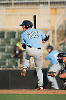 Alex Kowalczyk (22) of the Hickory Crawdads at bat against the Kannapolis Intimidators in game one of a double-header at Kannapolis Intimidators Stadium on May 19, 2017 in Kannapolis, North Carolina.  The Crawdads defeated the Intimidators 5-4.  (Brian Westerholt/Four Seam Images)