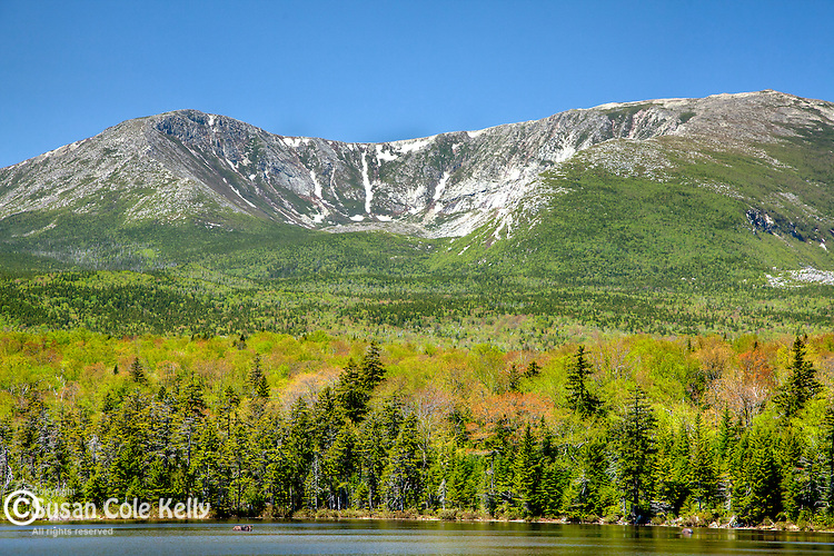 Mount Katahdin North Basin seen from Sandy Stream Pond in Baxter State Park, Piscataquis County, ME