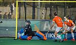 BLOEMENDAAL  -  keeper Flip Wijsman , strafcorner,  competitiewedstrijd junioren  landelijk  Bloemendaal JA1-Nijmegen JA1 (2-2) . COPYRIGHT KOEN SUYK
