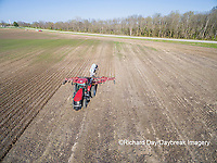 63801-10116 Farmer applying anhydrous ammonia (nitrogen) to corn field-aerial Marion Co. IL