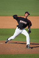 Kannapolis Intimidators starting pitcher Luis Martinez (35) in action against the West Virginia Power at CMC-Northeast Stadium on April 21, 2015 in Kannapolis, North Carolina.  The Power defeated the Intimidators 5-3 in game one of a double-header.  (Brian Westerholt/Four Seam Images)