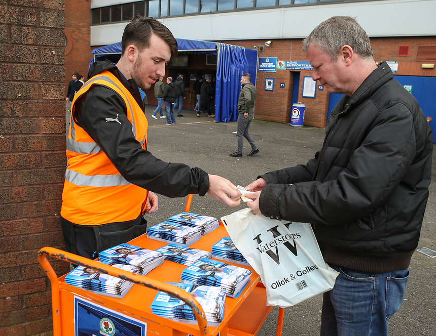 A programme seller outside Ewood Park<br /> <br /> Photographer Alex Dodd/CameraSport<br /> <br /> The EFL Sky Bet Championship - Blackburn Rovers v Aston Villa - Saturday 29th April 2017 - Ewood Park - Blackburn<br /> <br /> World Copyright &copy; 2017 CameraSport. All rights reserved. 43 Linden Ave. Countesthorpe. Leicester. England. LE8 5PG - Tel: +44 (0) 116 277 4147 - admin@camerasport.com - www.camerasport.com