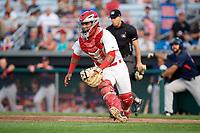 Auburn Doubledays catcher Adalberto Carrillo (8) fields a throw during a game against the Lowell Spinners on July 13, 2018 at Falcon Park in Auburn, New York.  Lowell defeated Auburn 8-5.  (Mike Janes/Four Seam Images)